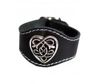 Bratara piele naturala, neagra, ornament celtic